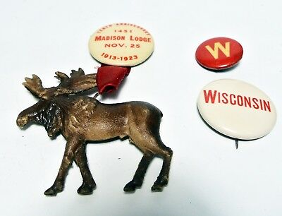 Madison WIsconsin Moose Lodge pin 1913 - 1923 plus 2 vintage UW buttons