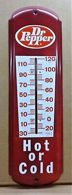 """Vintage Dr Pepper """"hot Or Cold""""  27"""" Tin Litho Thermometer In Great Condition"""