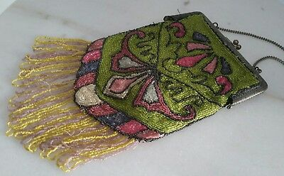 Antique Victorian Art Deco Glass Seed Beaded Purse Handbag Silverplated Frame