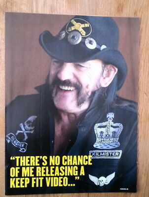 MOTORHEAD: LEMMY 'no keep fit video' magazine PHOTO/Poster/clipping 11x8 inches