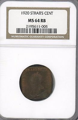 1920 Straits Settlements Cent KM# 32 GRADED MS64 BY NGC