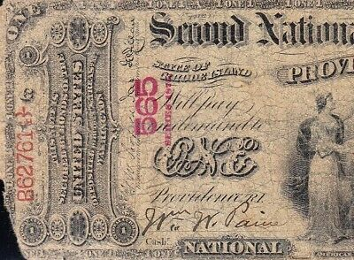 *RARE* 1875 $1 FIRST CHARTER Providence, RI National Banknote! FREE SHIP! 1260