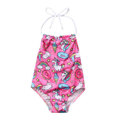 Kids Girls Rainbow Unicorn Bikini Beachwear Swimwear Swim Bathing Suit Swimsuit