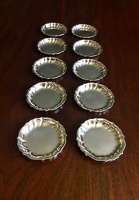 10 Beautiful Ricci & C. Italian 800 Silver Chippendale Style Butter Pats 1950