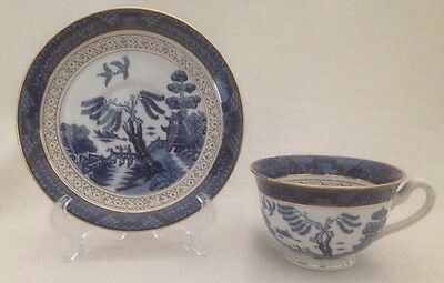 Vintage Ironstone Ware Blue Willow Tea Cup and Saucer Made In OCCUPIED JAPAN