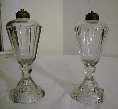 PAIR of MATCHING ANTIQUE 19th c. SANDWICH GLASS WHALE OIL LAMPS