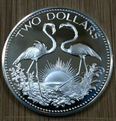1974 BAHAMA $2 TWO DOLLAR SILVER PROOF COIN WITH FLAMINGO'S ( 40mm )