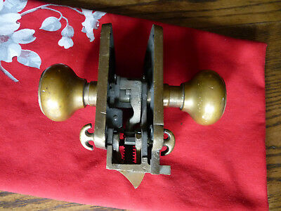 "Antique Vintage ""Corbin"" Cast Brass Bronze  Door Knob Set, Plate, Lock, Lockset"