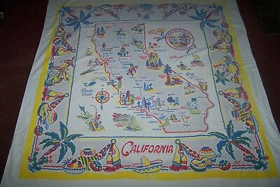 Vintage California Souvenir Tablecloth 44 by 48 Original Yucca Print