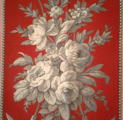 Antique French 19thC Floral Toile & Striped Red Cotton Print Fabric Fragment