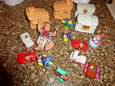 The Flintstones Mixed Lot -12 Flint Mobiles, Garage, Fossil Fill Up, Fred,barney