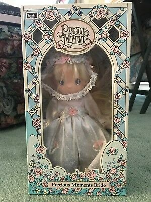 "Vintage 10""  Precious Moments Bride Blonde Wedding Doll Rose Art  new in box"