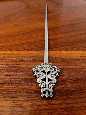 CT & G Fox Sterling Silver Letter Opener / Skewer: London 1846 Dolphin Finial