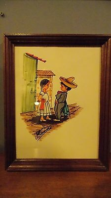 Vintage Mexican Folk Art/Watercolor/Hand Drawn & Painting/Signed w/Wood Frame