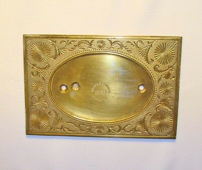 An old engraved brass plate for oval frame - antique  embossing plate