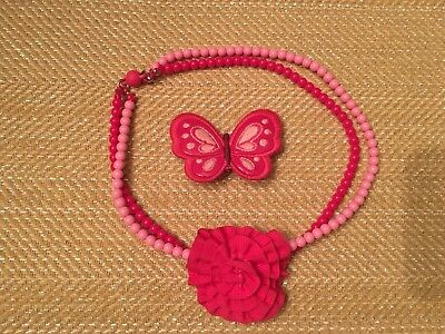 Gymboree Glamour Butterfly Girl Blossoms Collection - hair clip and necklace