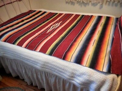 "Vintage Colorful Fringed Mexican Saltillo Blanket Serape 84"" by 44"""