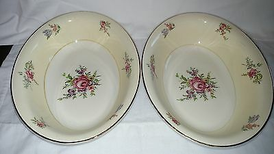 Household Institute Priscilla pattern, two 9 inch salad bowls Homer Laughlin