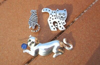Lot Three Vtg Sterling Silver 925 Kitty/Cat Brooches or Pins--TW=41 grams