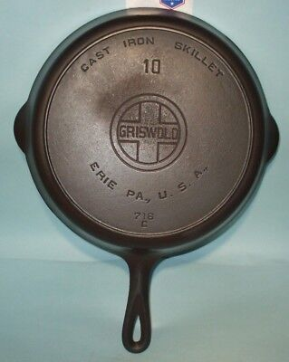 Vintage #10 Griswold 716 C Cast Iron Skillet - Large Block Logo - Heat Ring