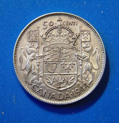 CANADA 1944  50 cents narrow date med 4 silver half dollar fifty cent piece B