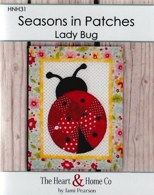 Seasons in Patches, Lady Bug - cute pieced & applique mini quilt PATTERN