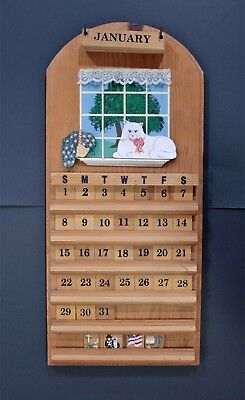 VINTAGE HAND PAINTED WOOD CAT PERPETUAL CALENDAR by THE PINE CONNECTION 1991