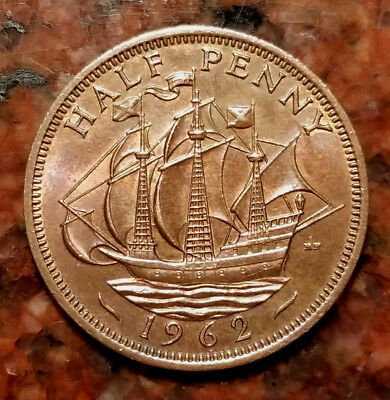1962 Great Britain Half Penny Coin - Au Grade - #2134