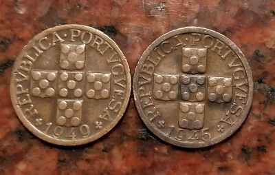 Lot Of (2) Portugal 10 Centavos Coins - #2032