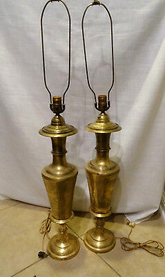 """2 Table Lamps Vintage 1920s-1930s Solid Brass Engraved Floral Design 39""""  Tall"""