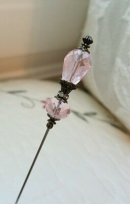 Victorian Hat Pin Vintage Inspired Pink Rose Crystal Beads Antique Brass Fitting