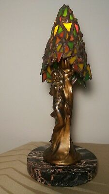 Art Nouveau Deco Lamp Spelter Lady Figural Vintage Antique Stained Glass Shade