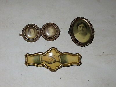 % Victorian Antique Lot Of 3 Photo Pins Brooches %