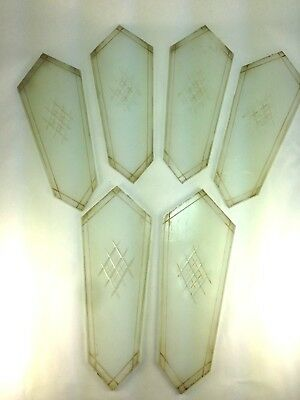 Six 1930's Art Deco Glass Replacement  Panels Wall Sconce/Fixture  Glass