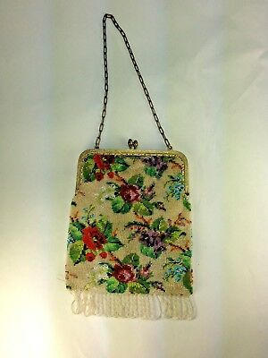 Antique French Late 1800's Floral Mini Bead Purse/bag