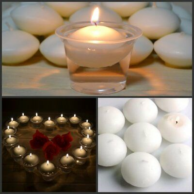 1-100pcs White Holiday Events Floating Candle Disc Floater Candles Unscented