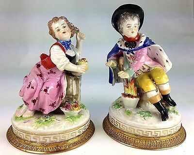 Antique Two 19Th Century German Rauenstein Meissen Porcelain Figurines