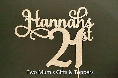 Personalised 21st (ANY AGE ANY NAME) Birthday Glitter Cake Topper Decoration 21