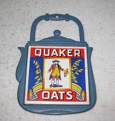 "Quaker Oats Tile 4.25 x 4.25"" Advertising in Cast Iron Wall Hanging"