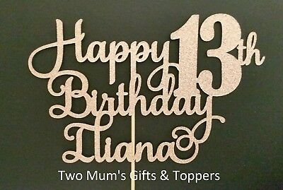 Personalised 13th Birthday Glitter Cake Topper Decoration