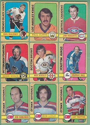 1972-73  Opc, O-Pee-Chee, Lot Of 9 Cards   ( P/g+ )