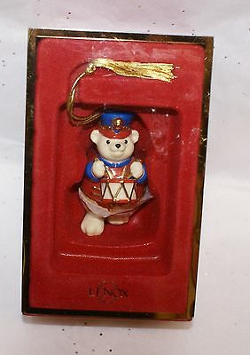 Lenox Bear Drummer Trinket Box Christmas Ornament 24K gold Porcelain Orig Box