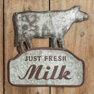 Vintage Style Grey Metal Just Fresh Milk Cow Sign Farmhouse New Shabby Chic