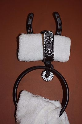 (2) Texas Star Towel Ring, Cast Iron, Lone Star,western,horse,spur,set Of 2,ba-6