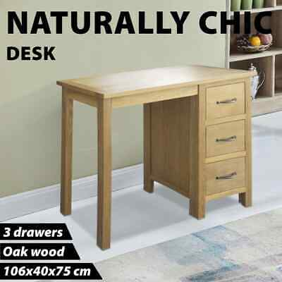vidaXL Solid Oak Wood Desk with 3 Drawers Furniture Bedroom Office Table Stand
