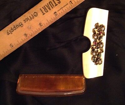 Vintage Comb ~Goldtone Case With Pearls & Rhinestones