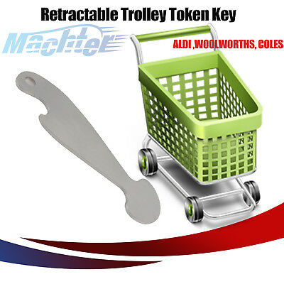 GENUINE MACHTER No Coin Shopping Trolley Token Key Retractable Coles Safeway