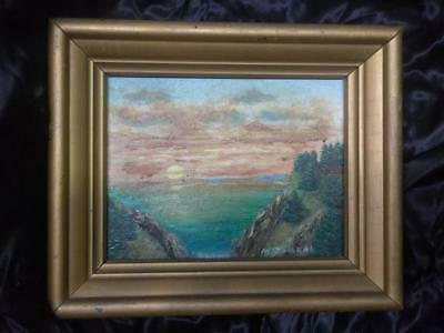 Antique Old Vintage Original Artist Signed Coastal Landscape Painting Sunset Art