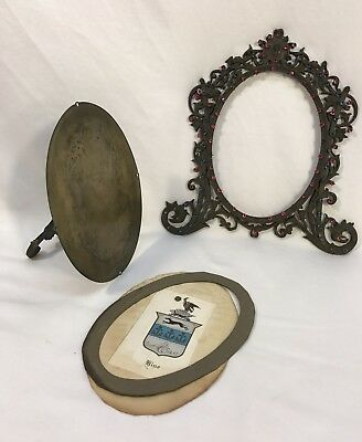 Antique Victorian Ornate Jeweled Metal Easel Back Standing Picture Frame
