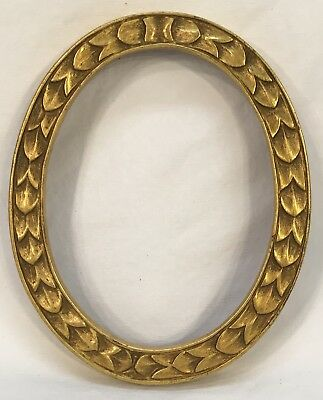 Antique Early 20th C Oval Hand Carved Wood Gold Frame 3 3/4 x 4 3/4 Opening